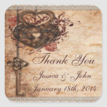 Vintage Romance Key & Hearts Thank You Wedding Square Sticker