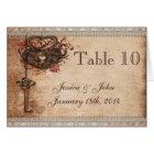 Vintage Romance Key & Hearts Wedding Table Number