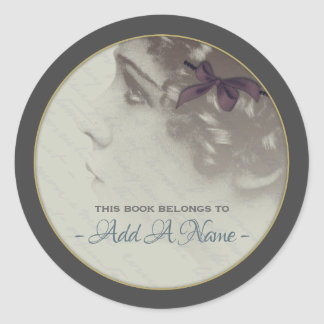 Vintage romance Portrait Of A Girl Bookplate Classic Round Sticker