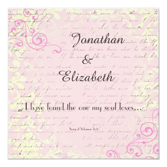 Vintage Romance With Bible Verse Wedding Invitation