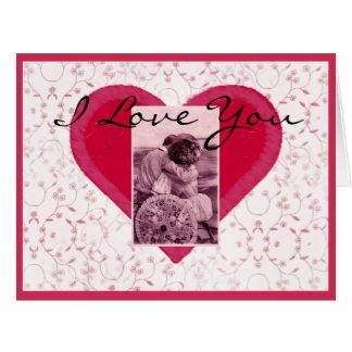 Vintage Romantic Couple Big Heart Large Greeting Card