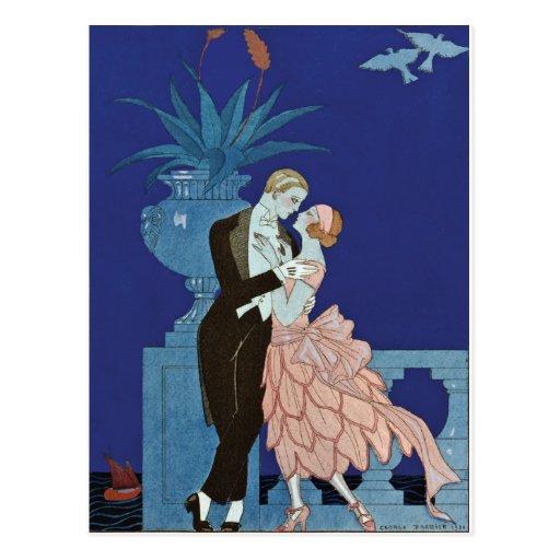 """Vintage Romantic Couple ~ """"Oui"""" Postcards"""