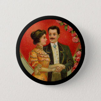 Vintage Romantic Couple Valentine Button