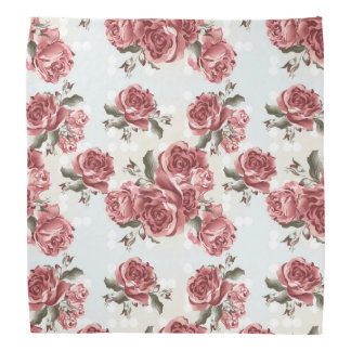 Vintage Romantic drawn red roses bouquet Bandana