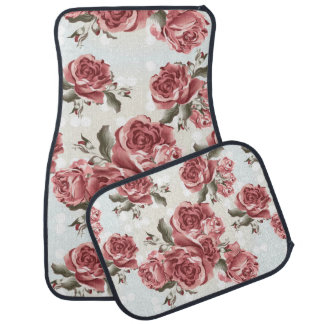 Vintage Romantic drawn red roses bouquet Car Mat