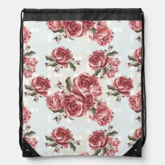 Vintage Romantic drawn red roses bouquet Drawstring Bag