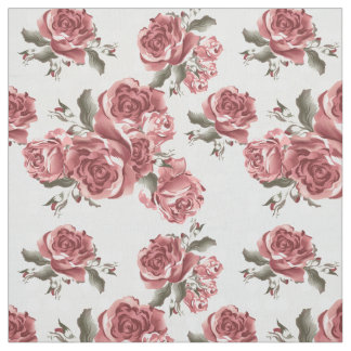 Vintage Romantic drawn red roses bouquet Fabric