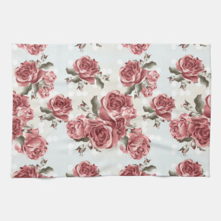 Vintage Romantic drawn red roses bouquet Kitchen Towel