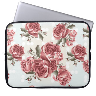 Vintage Romantic drawn red roses bouquet Laptop Sleeve