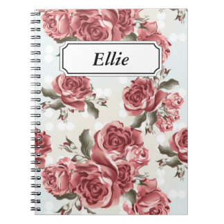 Vintage Romantic drawn red roses bouquet Notebook