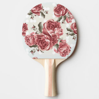 Vintage Romantic drawn red roses bouquet Ping Pong Paddle