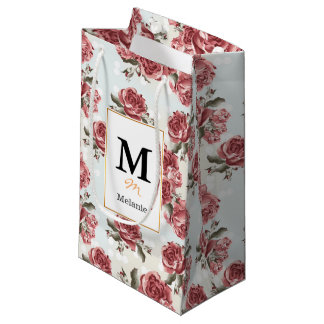 Vintage Romantic drawn red roses bouquet Small Gift Bag