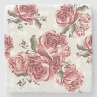Vintage Romantic drawn red roses bouquet Stone Coaster