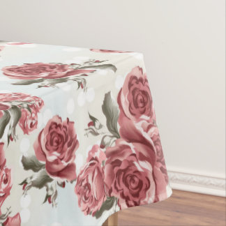 Vintage Romantic drawn red roses bouquet Tablecloth