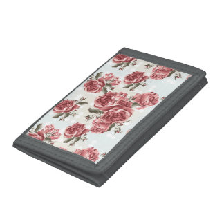 Vintage Romantic drawn red roses bouquet Tri-fold Wallet