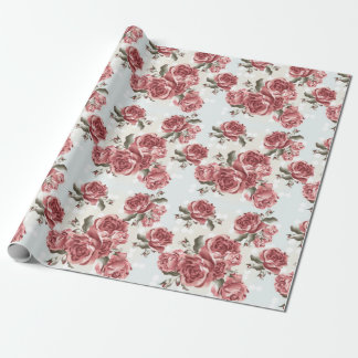 Vintage Romantic drawn red roses bouquet Wrapping Paper