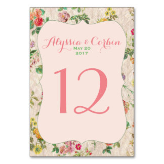 Vintage Romantic Floral Pink Wedding Table Numbers Table Card