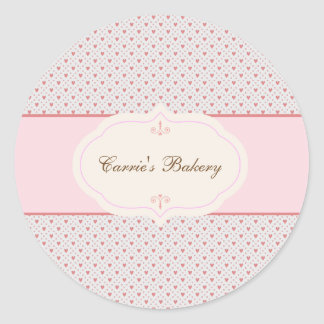 Vintage Romantic Frame Bakery Label Round Sticker