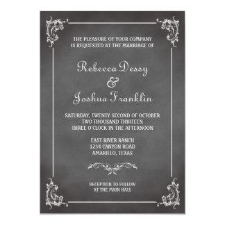 Vintage romantic gray chalkboard scroll wedding card