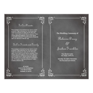 Vintage romantic gray chalkboard wedding program personalized flyer