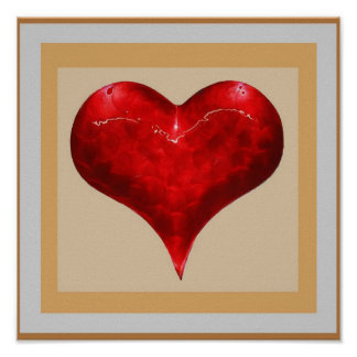VINTAGE Romantic HEART : Jewel like Red  3D Shape Poster
