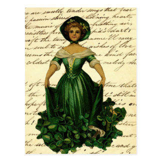 Vintage Romantic Irish Clover Dress Lady Postcard