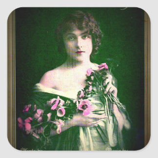 Vintage Romantic Lady with Pink Flowers Sticker