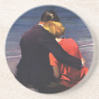 Vintage Romantic Love, Romance on the Beach Beverage Coasters