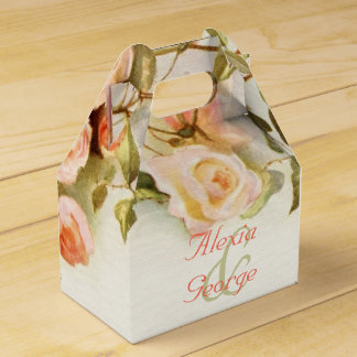 Vintage romantic painting of roses wedding favor box