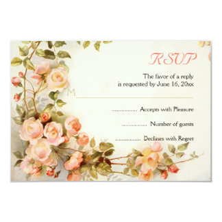 Vintage romantic painting of roses wedding RSVP Card