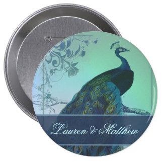 Vintage romantic peacock design 4 inch round button