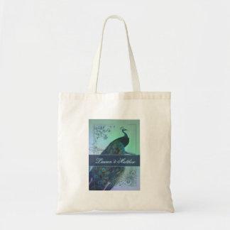 Vintage romantic peacock design budget tote bag
