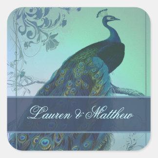 Vintage romantic peacock design square sticker