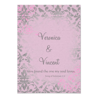 Vintage Romantic Pink and Gray Damask Wedding Card