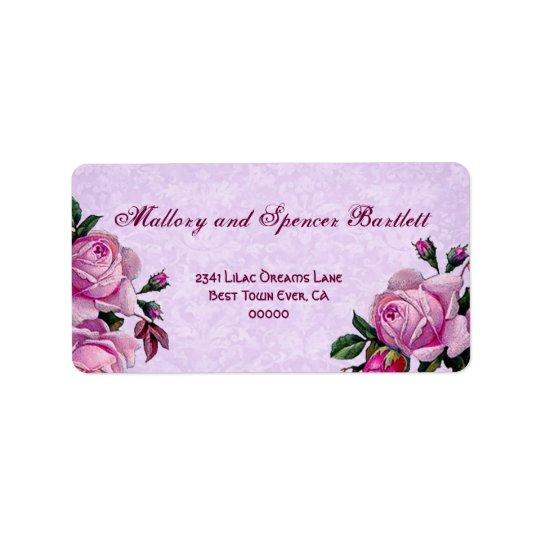Vintage Romantic Pink Roses Wedding Ver 002 Label
