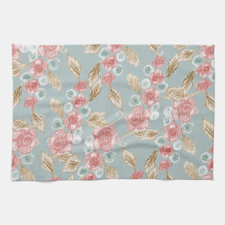 Vintage, romantic rose flowers towel