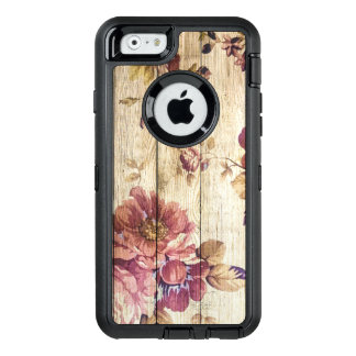 Vintage Romantic Roses on Wood OtterBox Defender iPhone Case