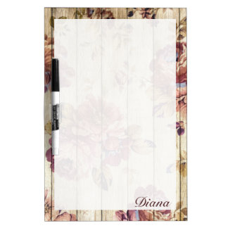 Vintage Romantic Roses on Wooden Wall Dry Erase Board