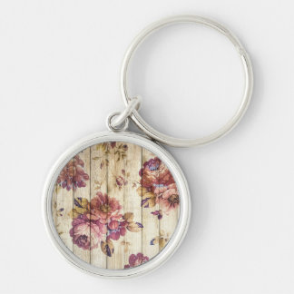 Vintage Romantic Roses on Wooden Wall Keychain