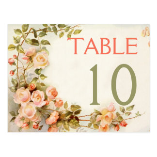 Vintage romantic roses wedding table number postcard