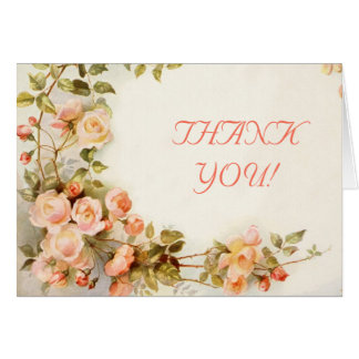 Vintage romantic roses wedding Thank You Note Card