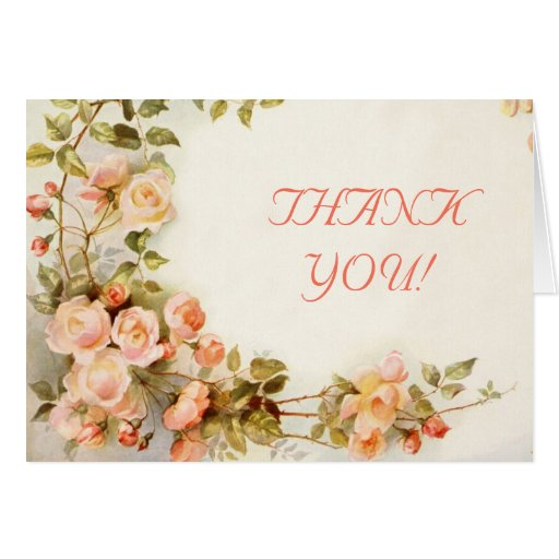 Vintage romantic roses wedding Thank You Greeting Card
