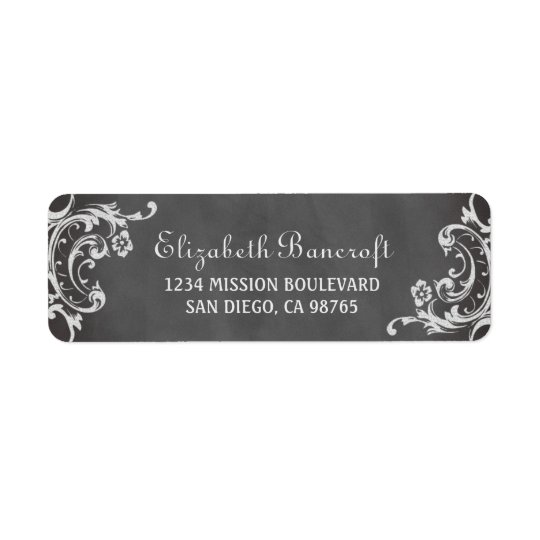 Vintage romantic scroll chalkboard return address