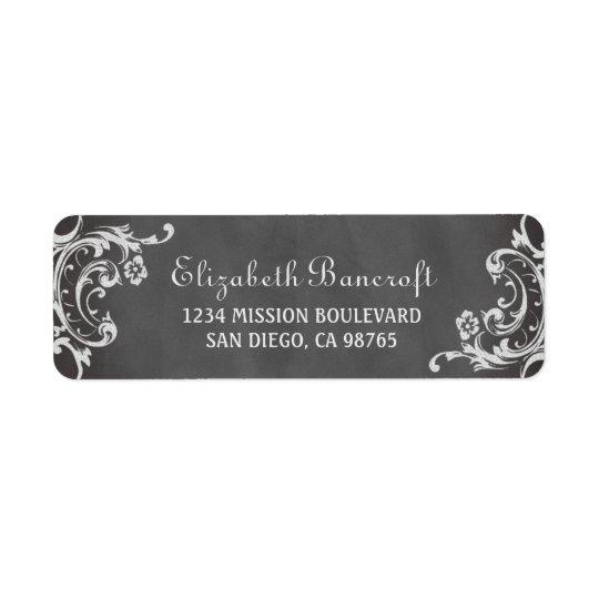 Vintage romantic scroll chalkboard return address return address label
