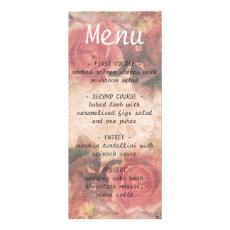 Vintage romantic wedding menu with pink roses rack card design