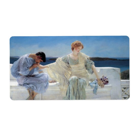 Vintage Romanticism, Ask Me No More by Alma Tadema Shipping Label