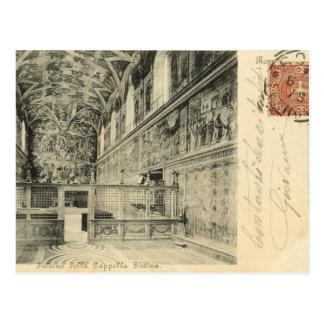 Vintage Rome, 1890, Sistine Chapel Interior Postcard
