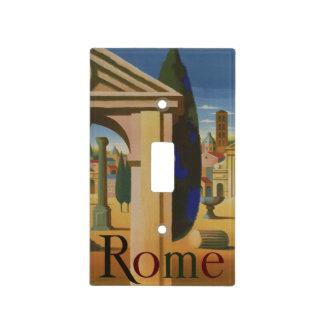Vintage Rome Travel Poster Art Light Switch Cover
