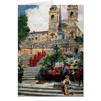 Vintage Rome watercolor Trinita dei Monti Note Card