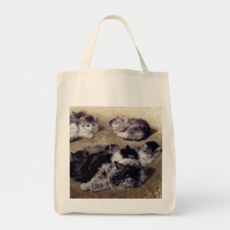 Vintage Ronner Study Painting of Cats Tote Grocery Tote Bag